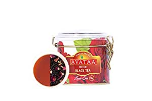 Avataa Rose Black Tea: High Grown Ceylon Tea with Dehydrated Rose Petals and 100% Natural Rose Oil (50 Gram/25 Cups)