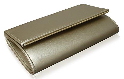 Damen Edel Abendtasche Clutch mit Kette Gold