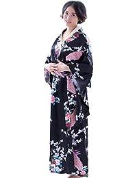0382cdb17c9887 Bodbii Frauen Mädchen japanische Satin Lange mit Blumen Kimono Yukata Foto  Cosplay
