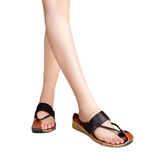 Vogstyle Damen Lederschuhe Freizeit Sandalen Slippers Zehentrenner Braun