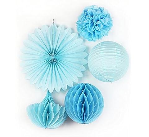 SUNBEAUTY Blau Set Papier Blumen PomPoms Wabenball Lampion Geburtstag Babyshower Dekoration