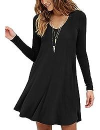 LILBETTER Frauen Rundhals Casual Loose T-Shirt Kleid
