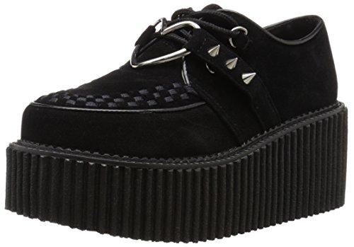 Demonia Creeper 206, Damen Sneakers , Schwarz - Black (Blk Vegan Suede Vegan Leather) - Größe: 39 EU (6 UK) -