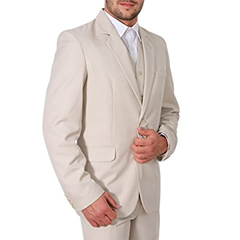 Herren Anzug 3Teiler Slim Sakko Hose Weste Hochzeit Smoking Slimline (50, Beige)