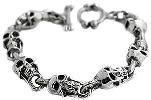 bracelet tete de mort en acier crane pirate biker rock homme femme