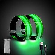 Houkiper 2 Pezzi LED Bande Catarifrangenti,Braccialetto LED Ricaricabile USB Catarifrangente Luci Segnalazione