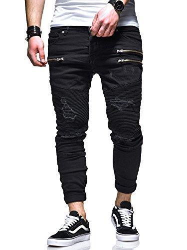 MT Styles Herren Biker Jeans Hose RJ-5037 [Schwarz, W32/L32] (Fashion-jeans Schwarze)