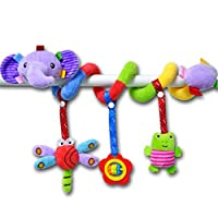 zrshygs Elephant Cartoon Stroller Arch Rattles Hanging Cute Plush Animals Style Bed Around for Baby Education Toy Spiral Wrap Around Crib Bed