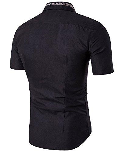 Herren Kurzarm Hemd Original Embroidery Freizeithemd Schwarz
