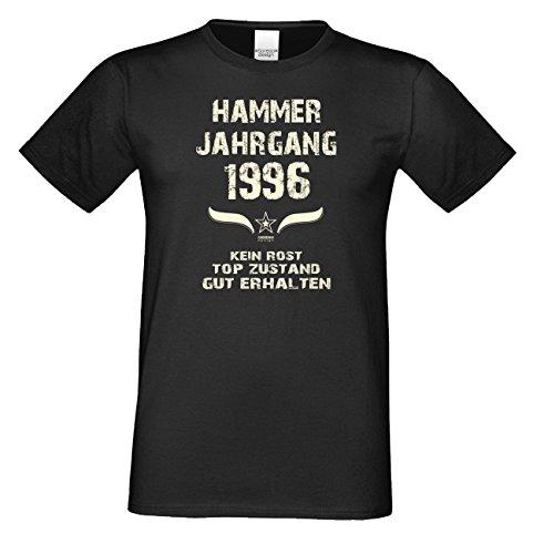 T-Shirt Herren Männer Geschenkidee zum 21. Geburtstag Motiv Hammer Jahrgang 1996 Geburtsjahr Freizeitlook Farbe: schwarz Schwarz