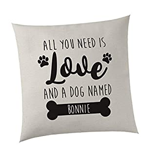 SMARTYPANTS Personalised Cushion Cover - All you need is love and a dog named. - Cute Bed (Natural)