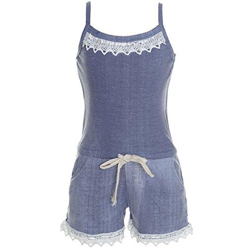 BEZLIT Mädchen Jumpsuit Overall Body Dress Strap Suit Einteiler Onesie 21346, Farbe:Navy;Größe:116 (Capri-baumwoll-overalls)