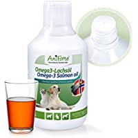 AniForte Aceite de salmón 500ml para Gatos, Perros y Caballos, ácidos grasos omega-3, producto puro 100% natural, ideal como complemento alimenticio diario, suplemento de barf