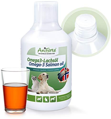 AniForte Omega-3 Lachsöl für Hunde, Katzen, Pferde 500ml - Kaltgepresst, Reich an Omega 3 und Omega 6 Fettsäuren, Fischöl Barf Ergänzung, Natur Pur, Ohne Zusätze, Einfache Dosierung