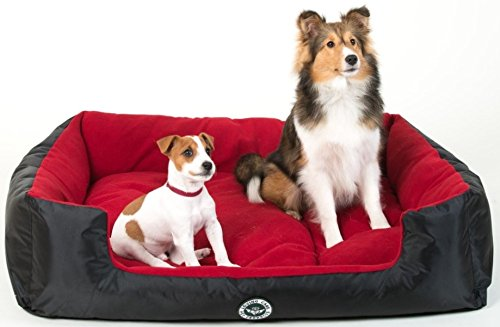 Loving-Care-Pet-Products-Ultra-Supreme-LOUNGER-Style-Pet-Bed-XL-100cm-x-80cm-Love-RED-Black-RED-Dog-Bed-Cat-Bed-Basket-Removable-Pillow-Machine-Washable-7-Colours