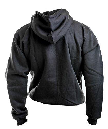 ROCK-IT Herren Zipper Hoodie Kapuzen Sweater Jacke Workerhoodie Pullover in Größen XS-5XL - Farben Schwarz Grün Navy und Grau Schwarz