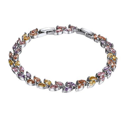 Suplight Damen Armband Platiniert Mehrfarbigen Marquise Zirkonia CZ Tennisarmband Armschmuck 20CM Armkette für Frauen Mädchen Glas Marquis