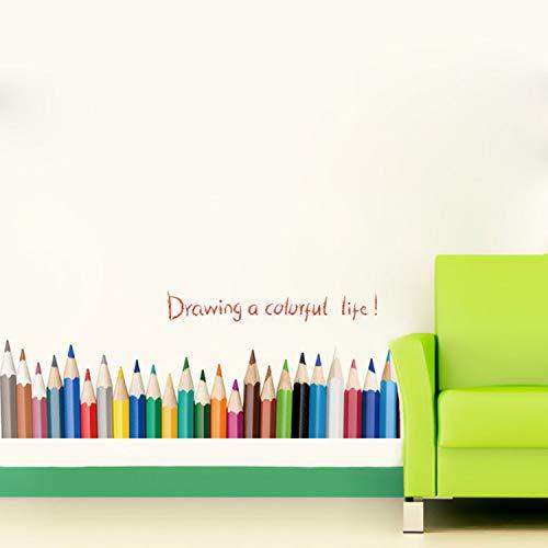 liuweideshoop Kreative Bleistiftzeichnung Baseboard Wandaufkleber Zeichnung Eine Bunte Leben Kinderzimmer Balkon Schlafzimmer Dekoration Untere Linie Abziehbilder 50X70 cm