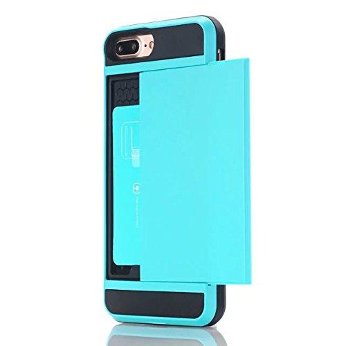 iPhone 7 Plus Coque,Lantier [Doux TPU Bumper+dur PC] résistant aux chocs à double couche Armure Wallet Etui de protection Defender avec porte-cartes pour Apple iPhone 7 Plus Vert Light Blue