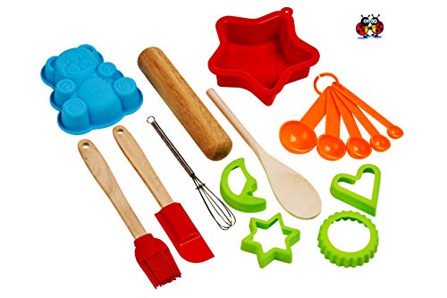 Ensemble de pâtisserie de luxe 16 pièces pour enfants - Cadeau idéal pour les filles et les garçons - Ensemble de pâtisserie pour enfants avec de véritables ustensiles de cuisine