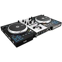 Hercules Air+ S- Controlador de DJ (750 pasos por rotación, 8 pads progresivos, MIDI, RCA), color negro y plateado