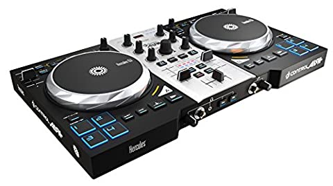 Hercules DJ Control Air+ S Series (2-Deck DJ Controller, XL-Jogwheels, Air Control, 8 Pads, integr. Soundkarte, DJUCED 40°, PC / Mac)