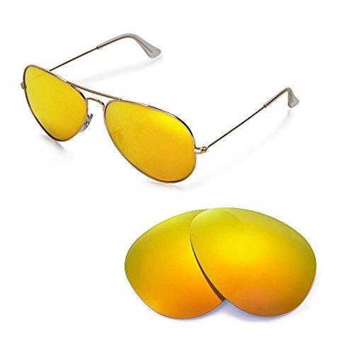 Walleva Ersatzgläser für Ray-Ban Aviator Large Metal RB3025 62mm Sonnenbrille - Mehrfache Optionen (24K Gold Mirror Coated - Polarisiert)