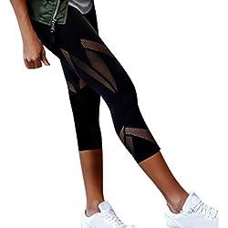 Binggong Legging de Sport Pantacourt Femme avec Poches Taille Haute Pantalon Yoga Collant Capri Danse Fitness Gym Minceur Perspective Maille Couture Pantalon de Yoga à Sept Points