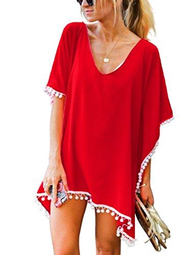 Damen Strandponcho Sommer Überwurf Kaftan Strandkleid Bikini Cover Up Freie Größe Rot