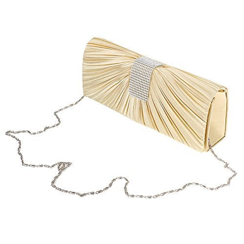MagiDeal Donna Lucido Cristallo Borse Spalla Catena Pochette Sacchetto Portafoglio di Sera Cooktail Partito Oro