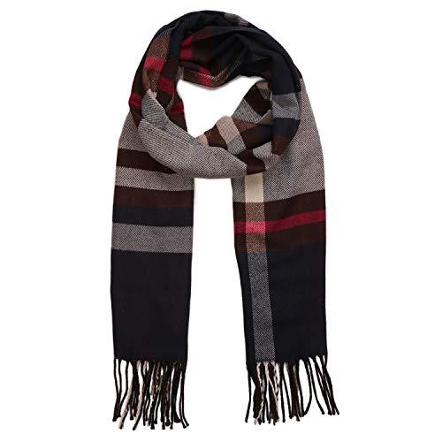 Sojos sciarpa uomo lana inverno autunno caldo piccolo sciarpe unisex sc310 marrone & rosso & nero strisce