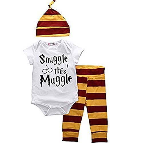 Baby Boys Girls Snuggle this Muggle Bodysuit and Striped Pants Outfit with Hat (80 (6-9M), White+Yellow)