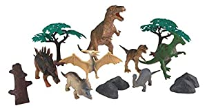 Wenno USA National Geographic Bucket of Dinosaurs Figurines, 14 Pieces
