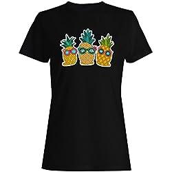 Sol Dibujado A Mano Piña Camiseta de Las Mujeres p223f