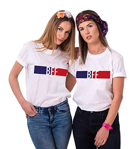 Sister Tshirt Best Friends t-Shirts BFF Shirt für 2 Mädchen Beste Freundin Freunde Tshirts freundschafts Oberteile Partnerlook Tops Sommer Damen Kurzarm 2 stück(Weiß,BFF-S+S -