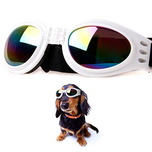 DIGIFLEX Faltbare Einstellbare Hunde-Sonnenbrille für mittelgrosse Hunde Brille Weiss