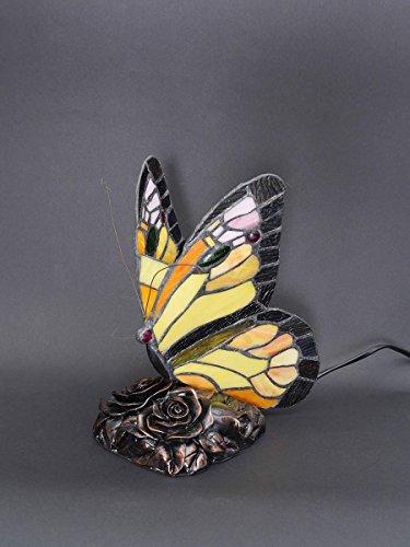 Antike Tiffany-tisch-lampe (Lampe Leuchte Tischlampe Tischleuchte im Tiffany-Stil Schmetterling gelb (5764))