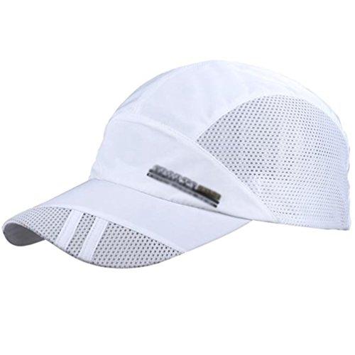 Imagen de linnuo  de béisbol de malla transpirable sombrero deportiva de secado rápido  de visera outdoor hombres mujeres blanco,one size