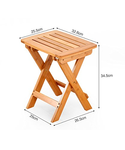 WUFENG Tabouret Pliant en Bambou Portable Outdoors Mazar Small Bench, 2 Tailles en Option (Couleur : B, Taille : 25 * 26.5 * 34.5cm)