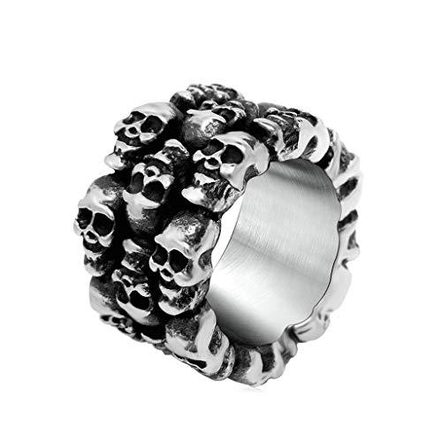 YANIBB Mens Titanstahlring Vintage Retro personifizierte Schädel Kopf Band Ring Silber