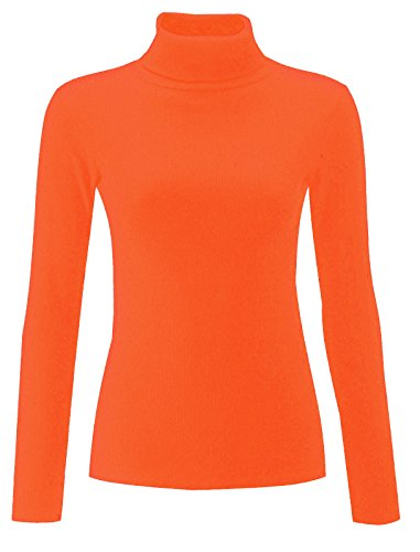 RE Tech UK Damen einfarbig gerippt Baumwolle Polo Schildkröte Rollkragen Tunika Top Pulli langärmelig Orange