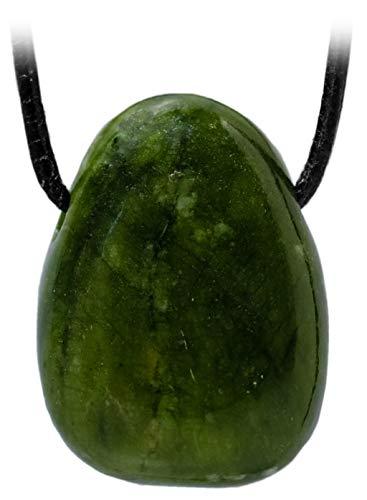 Kaltner Präsente Unisex-collar con colgante de tambor piedrapreciosa de piedra Serpentina en la correa de piel verde