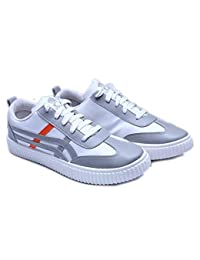 Shoe Swagger Men's White & Black Casual Canvas Sneaker / Sports Running Shoes