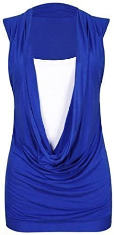 WOMEN LADIES LONG PLAIN RACER SLEEVELESS RUCHED FLARE SWING DRESS PLUS SIZE TOP[Royal Blue With (White Pattern Sciarpa)