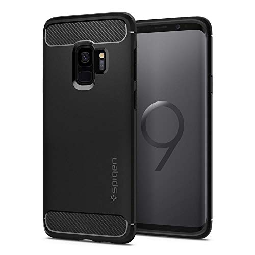 Spigen [Rugged Armor Samsung Galaxy S9 Hülle (592CS22834) Stylisch TPU Silikon Robuste Schutzhülle Karbon Design Handyhülle Case (Schwarz)