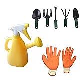 #8: GTC Garden Watering Can 500 ml Watering Can Yellow , 5 Garden Tools , 1 Pair Garden Gloves