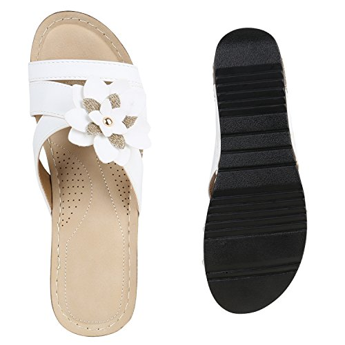 Damen Sandaletten Pantoletten Mules Glitzer Blumen Schuhe Weiß