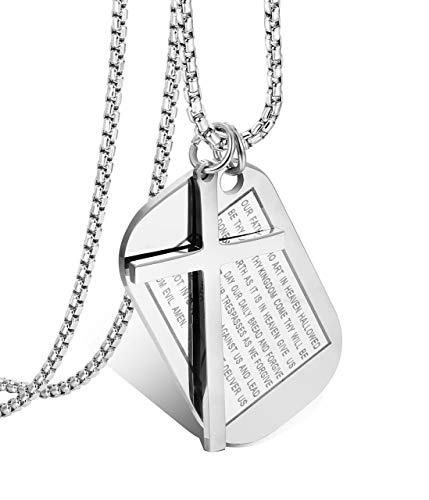 Milacolato 3MM Edelstahl Dog Tags Kreuz Halskette für Herren Damen Gebet Kreuz Rolo Kabel Kette 61CM Weiß/Schwarz