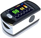 Contec Full-Colour OLED USB Finger Pulse Oximeter & Heart Rate Monitor w/ 24hr Memory, Lanyard, 3pin UK USB Adapter & Full Analysis Software