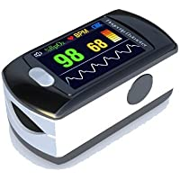 Contec Full-Colour OLED USB Finger Pulse Oximeter & Heart Rate Monitor w/ 24hr Memory, Lanyard, 3pin UK USB Adapter, Carry Case & Full Analysis Software